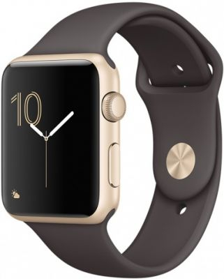 Умные часы Apple Watch 42mm Gold Aluminum Case with Cocoa Sport Band Series 1
