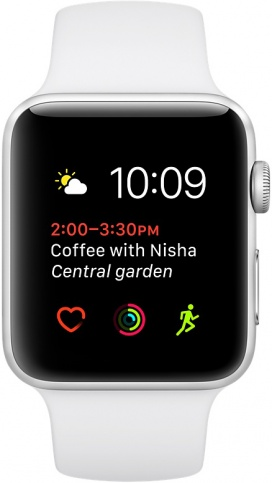 Умные часы Apple Watch 38mm Silver Aluminum Case with White Sport Band Series 2