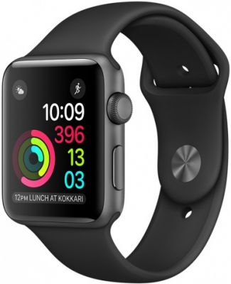 Умные часы Apple Watch 38mm Space Gray Aluminum Case with Black Sport Band Series 2