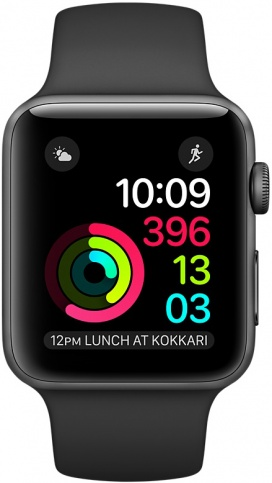 Умные часы Apple Watch 42mm Space Gray Aluminum Case with Black Sport Band Series 2