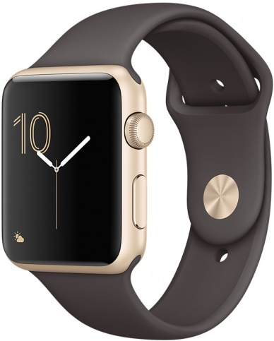 Умные часы Apple Watch 42mm Gold Aluminum Case with Cocoa Sport Band Series 2