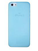 Защитная крышка для iPhone 5 супертонкая 0,3 мм (синий матовый пластик/прозрачный бокс)