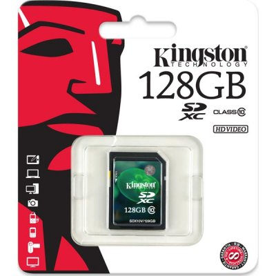 Карта памяти Kingston SDX10V/128GB, Secure Digital XC Class 10